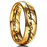 King Will MAGIC 7mm Titanium Ring Gold Plated Lord of Ring Comfort Fit Wedding Band For Men Women (10)