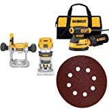 DEWALT DWP611PK 1.25 HP Max Torque Variable Speed Compact Router Combo Kit with LED's with Random Orbit Sander, 5