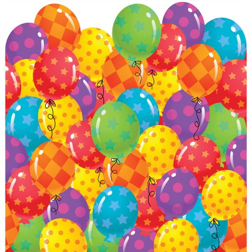 "Creative Converting 725831 Balloon Patterns Border Print Plastic Tablecover, 54 by 108"", Red/Purple/Green"
