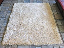 Viscose Beige Wheat Shaggy Shag Area Rug 4\'x5\' Solid Color Quality Flokati High Pile Soft Iridescent Sheen Ultra Plush