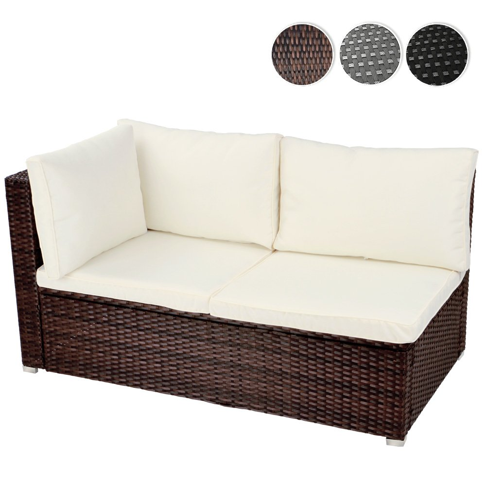 Ecksofa für bis zu 2 Personen aus Polyrattan Gartenmöbel inkl. Sitzkissen -Farbwahl- schwarz, grau oder braun günstig bestellen