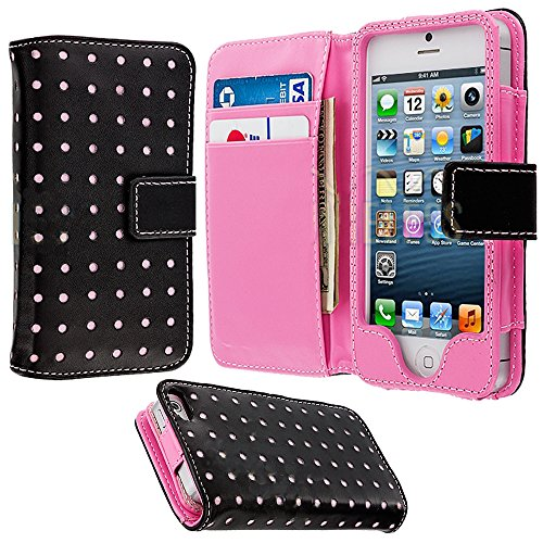 Mylife (Tm) Bubble Gum Pink And Carbon Black - Modern Design - Textured Koskin Faux Leather (Card And Id Holder + Magnetic Detachable Closing) Slim Wallet For Iphone 5/5S (5G) 5Th Generation Itouch Smartphone By Apple (External Rugged Synthetic Leather Wi