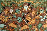 Krishna Playing The Flute-Kerala Mural Art(Unframed Canvas Prints)- 60CM X 40 CM