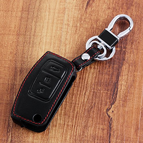 9 MOON® High Quality leather,Compact and delicate design, soft and durable. Car Remote Key Holder Case Cover,3D Wallet Key Remote Case fit Ford Galaxy Mk2 C S-Max Fiesta Rs St 500 S-Max C-Max Kuga Focus Mondeo Mk 7 Black