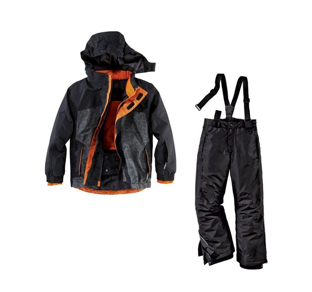Jungen Skianzug Größe: 158 / 164 Schwarz Orange Skijacke & Skihosehose Set Schneeanzug online kaufen