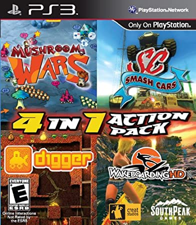 4-in-1 Action Pack including Mushroom Wars, Digger HD, Smash Cars and Wakeboarding HD