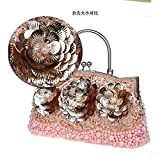 2016 New Womens Beading Evening Bags Elegant Ladies Handbags Sequined Party Wedding Purses Handmade Flowers Day Clutches (Champagne)