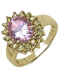 Suraabi 5.02CTW Pink Cubic Zirconia & Yellow Cubic Zirconia 14K Yellow Gold Plated Brass Ring For Women