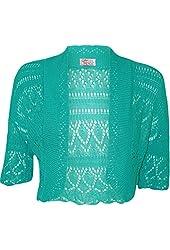 MyMixTrendz - Womens Crochet Knit Midi Sleeve Bolero Shrug