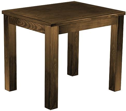 brasilmöbel–Tavolo da pranzo 'Rio classico' 90x 73cm in pino massiccio colore rovere anticato