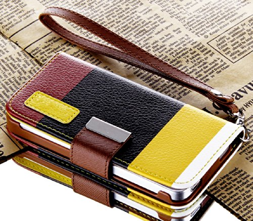 Mylife (Tm) Yellow Color Block Design - Textured Koskin Faux Leather (Card And Id Holder + Magnetic Detachable Closing) Slim Wallet For Iphone 5/5S (5G) 5Th Generation Itouch Smartphone By Apple (External Rugged Synthetic Leather With Magnetic Clip + Inte