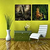 2 Set Of Buddha Paintings Canvas Oil Painting Print With Wooden Mounting | Suryastores CANVAS CLOTH PAINTING PRINT...