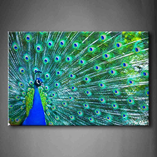 Blue Beautiful Peacock Wall Art Painting The Picture Print On Canvas Animal Pictures For Home Decor Decoration Gift (Stretched By Wooden Frame,Ready To Hang)