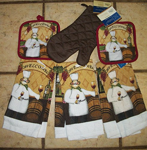 Fat Chef Bistro Kitchen Dish Towel Set With Brown Oven