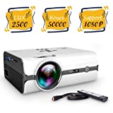 ViviMage Mini Projector with 2500 Lumens, Portable Projector Supports 1080P, HDMI, USB, VGA, AV, SD Card, Compatible with Fire TV Stick, PS3/PS4, Xbox with Free HDMI Cable (Color: White)