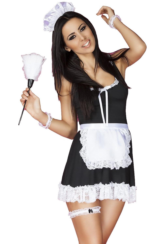 Dessous Hausmädchen-Set sexy Damen Maid Kostüm aus Kleid, Haarreif, String, Strumpfband, Staubwedel und Armbänder