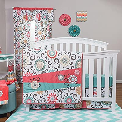 Floral Teal and Coral Baby Bedding Set by Trend Lab