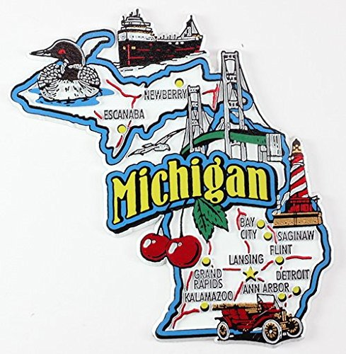 Michigan State Map and Landmarks Collage Fridge Collectible Souvenir Magnet FMC (Michigan Fridge Magnet compare prices)