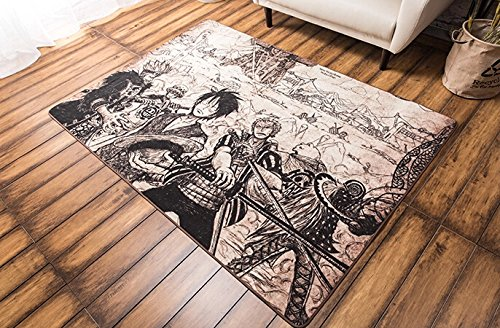 Stay Young® Precious Hand-painted One Piece Luffy Rug Carpet Non Slip Shaggy Area Rug Soft Doormat Floor Mat Bath Mat Bathroom Shower Rug Bedroom Living Room Carpet (80*120cm)