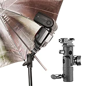 Camera Flash Speedlite Mount Stand and Umbrella Holder Mount 180°Swivel Light Stand E Type Light Bracket for Camera DSLR Nikon Canon Pentax Olympus and Other DSLR Flashes Studio Light LED Light (Color: camera flash brackets)