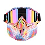 Motorcycle Goggles Mask Detachable, Harley Style Protect Padding Helmet Sunglasses, Road Riding UV Motorbike Glasses (Graffiti) (Color: Graffiti, Tamaño: 190-180)