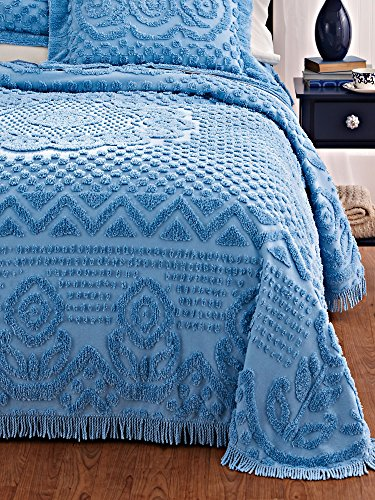 Read About Heirloom Cotton Chenille Bedspread Vintage-inspired center zig-zag pattern floral border ...