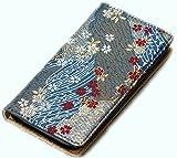 iphone6,6sケース(アイフォンケース6、6s)和柄で高品質の手帳型 西陣織りの金襴 (青)