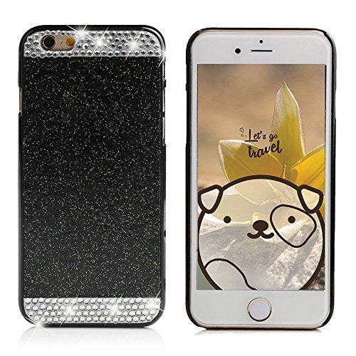 Apple iPhone 6/6S Plus Schutzhülle, elecfan® Smart B machen cristallo corona strass e perla stile diamante scintille gamba lancio handgemachte duro plastica copertura per i Kast Cover/Case per Apple iPhone 6/6S Plus nero