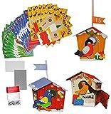 XL BASTELSET Weihnachtskalender - 24 Vogelhäuser mit Vögeln zum Aufhängen - selber Basteln / Hinstellen + Befüllen incl. Namen - für Erwachsene / Kinder / Mädchen Jungen - Adventskalender Weihnachten - SelbstBefüllen - Aus Papier Kleben / machen gestalten