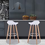 WATERJOY Bar Stool, Set of 2 ABS Kitchen Breakfast Barstools Modern Counter Height Bistro Pub Bar Chairs with Wooden Legs White (Color: White)