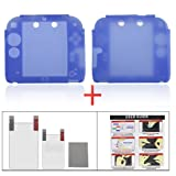 YUYIKES Protective Soft Silicone Skin Case Cover Shell for Nintendo 2DS + Clear LCD Screen Protector (Blue)