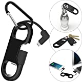 i-Dawn Compatible iPhone Charge Cable + Keychain + Bottle Opener + Aluminum Carabiner,Portable Multifunction Keychain Bottle Opener USB Charging Cord Short Cable Gift Men Women (Black) (Color: Black)