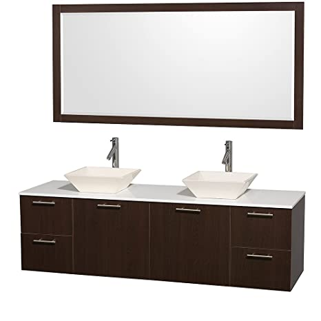 Wyndham Collection Amare 72 inch Double Bathroom Vanity in Espresso with White Man-Made Stone Top with Bone Porcelain Sinks, and 70 inch Mirror