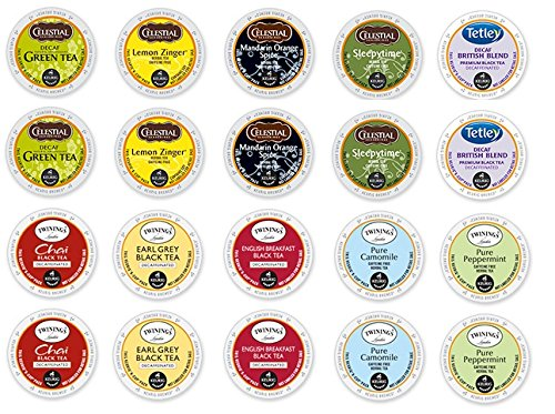 20 Count - Variety Decaf Tea K-Cup For Keurig Brewers From Celestials, Twinnings - 10 Flavors front-65202