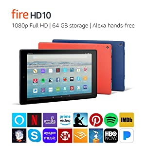 Fire HD 10 Tablet with Alexa Hands-Free, 10.1 1080p Full HD Display, 64 GB, Black - with Special Offers (Color: Black, Tamaño: 0)
