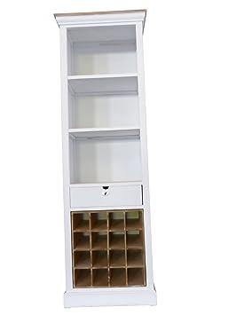 SAM® Hochschrank III Paris aus weiß lackiertem Paulowniaholz im Landhausstil, teilmassiv, 1 Schubkasten, 3 offene Fächer, 16 Flaschenfächer, viel Stauraum