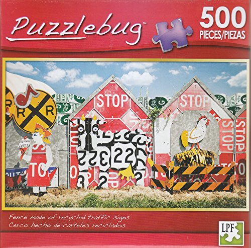 Puzzlebug 500 - Fence Made of Recycled Traffic Signs - 1