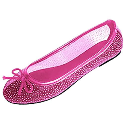 Womens Mesh Ballet Flats Shoes W/Glitter Dot Detail & Bow 5 Colors