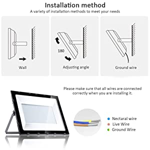 Heilsa 500W LED Flood Light, 40000Lm 6000-6600K (Cold White) IP70 Waterproof Super Bright Outdoor Floodlight for Garden Yard, Lawn, Playground LED Lighting (Color: White)
