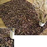 Dallas Leather Shaggy Rug Chocolate