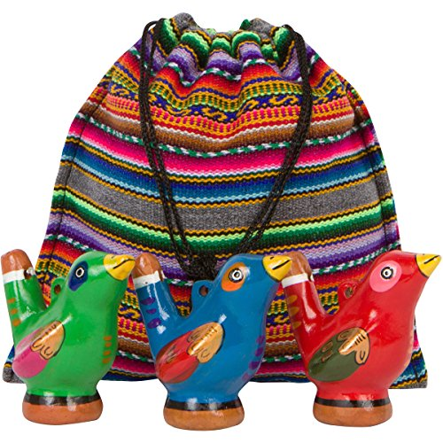 Hand Painted Ceramic Peruvian Whistle Birds Beautifully Designed Artisan Made in Peru: 3-Pack of Variety Colors with Souvenir Carrying Bag (Whistle Bag compare prices)