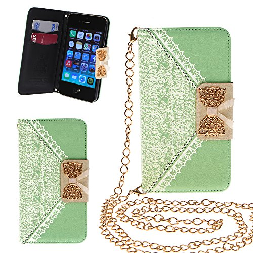 Xtra-Funky Exclusive Pu Leather Lace Pattern & Golden Bow Flip Case Cover Purse Handbag With Credit Card And Money Slots & Detable Golden Chain For Apple Iphone 5C - Green