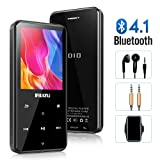 16GB MP3 Player with Bluetooth 4.1, RUZIU Portable Lossless Sound MP3 Music Player with 2.4'' Screen FM Radio Voice Recorder Music Speaker, Support Up to 128 GB with Headphone, Sport Armband (Color: Black, Tamaño: 16GB)