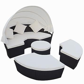 vidaXL 2-en-1 Conjunto de Tumbona de Ratán Negro de Exterior Cama Solar Con Dosel