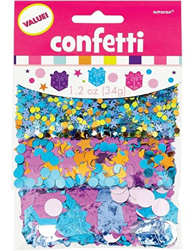 Amscan Happy Birthday Girly Stars & Circles Confetti Mix, Multicolored Metallic, 1.2 oz