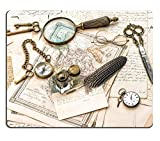 MSD Natural Rubber Gaming Mousepad antique office accessories old handwritten mails and vintage ink pen IMAGE 30109329
