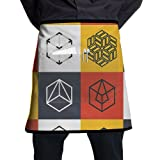 Guiping Collage Of Geometrical Shapes Futuristic Squares Rubic Cubes Artwork Kitchen Apron With Pockets For Men And Women