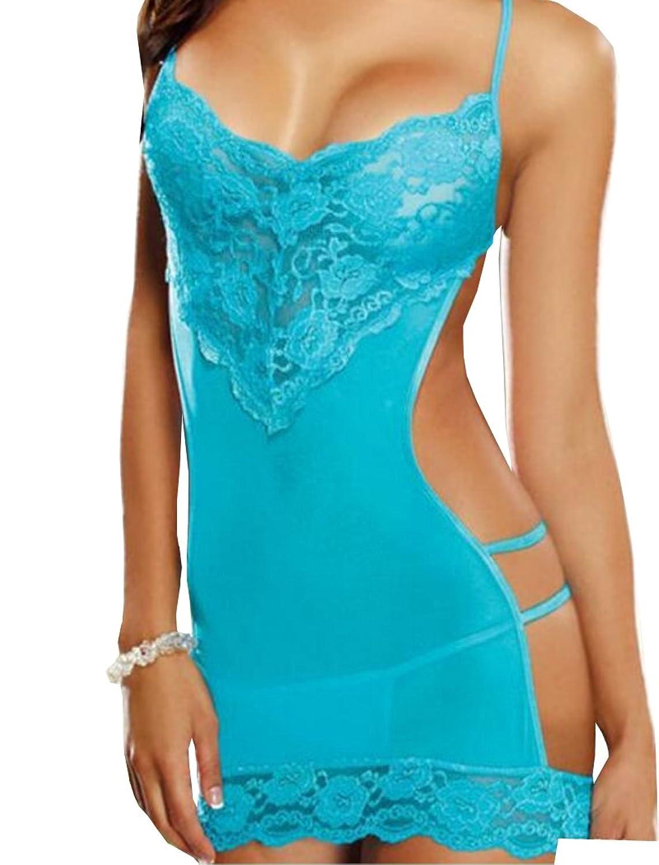 HO-Ersoka Damen Negligee Nachtkleid Minikleid pofrei aus Spitze und Tüll modisch inkl. String online kaufen