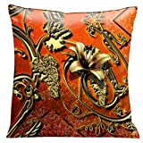 Lama Kasso Como Gardens Rolled Gold Iron Work on an Orange Filigree Micro-Suede 18-Inch Square Pillow, Design on Both Sides