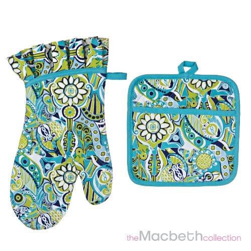 2 Piece Set oven mitt & Pot Holder - calypso santa cruz
